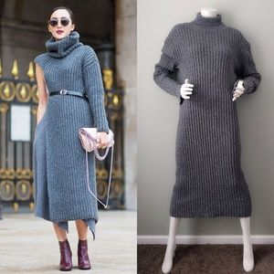 Vintage Gray Ribbed Long Turtleneck Sweater Dress